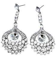 Chandelier Earrings Clear Rhinestone Crystal 3.2 inch