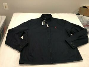 NWT $149.99 Polo Ralph Lauren Mens Classic Canvas Bomber Jacket Navy Sz LARGE