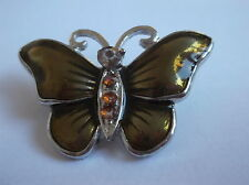 Butterfly Brooch With Green Wings & Orange Stone's Silver Coloured Metal