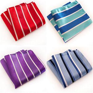 Blue Red Purple White Stripe Patterned Pocket Square Handerchief