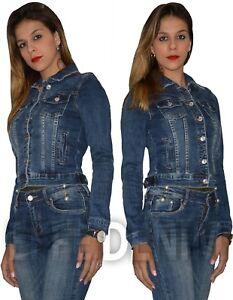 Giubbotto Donna Giubbino Jeans Giacca Denim Slim Aderente Nuovo 6591
