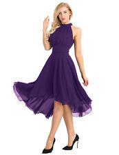 Women Chiffon Halter Evening Party Porm Gown High Low Short Bridesmaid Dress #16