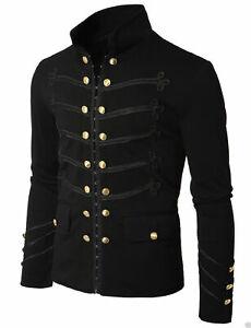 Mens Unique Modern Black Embroidery Black Military Napoleon Hook Jacket