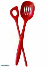 Rosti Melamine Vintage Utencils Red Slotted Spoon & Pot Stirrer #2832/2520