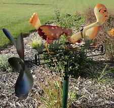 Chicken and Rooster Whirligig Metal Wind Spinner Kinetic Wind Sculpture