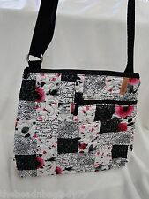 NEW DONNA SHARP P.S. I LOVE YOU BECKI CROSS BODY BAG Black Pink White Flowers