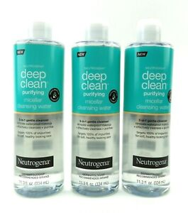 Neutrogena Micellar Cleansing Water Deep Clean Purifying 11.3 oz each pack of 3