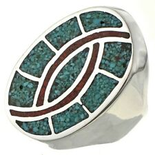 Navajo Inlaid Turquoise Coral Chip Sterling Mans Ring Sizes 9 to 12