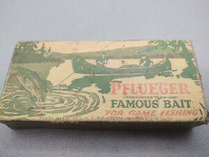 EARLY VINTAGE PFLUEGER FAMOUS BAIT BOX ONLY 3513 SILVER FISHING LURE