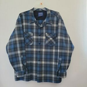 Pendleton Board Shirt Woolen Mills Size XXXL Blue Gray Plaid 100% Wool Pre-owned