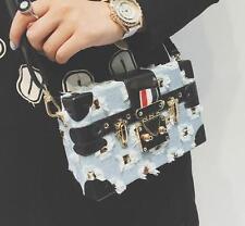 womens Small square denim box shoulder bag Leather lock messenger handbag bag