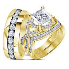 14K Yellow Gold Finish Mens And Womens Diamond Trio Ring Set Wedding Bridal Band