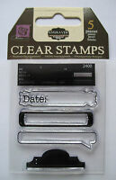 Prima  Clear Rubber Stamp Set ENGRAVER Tags banners Date SET of 5
