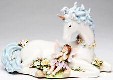 ♫ New MUSIC BOX Porcelain UNICORN FAIRY Musical Figurine WHITE HORSE Statue