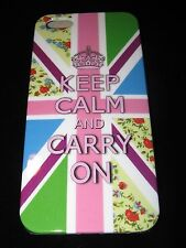 Rigid Cover Case for iPhone 5 5s Keep Calm and Carry On Pastel UK Flag Roses