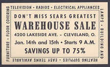 1952 SEARS WAREHOUSE SALE OF APPLIANCES ETC,CLEVELAND OH