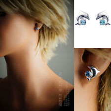 Boucles d'oreilles Dauphin ARGENT CRISTAL neuf-14231796