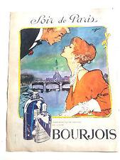 article de presse pub BOURJOIS parfums eau de cologne soir de paris flacon 1961