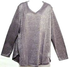 New + Tags! Faded Glory Ladies Violet Silver Hacci Shine Top - 3X (22W-24W)