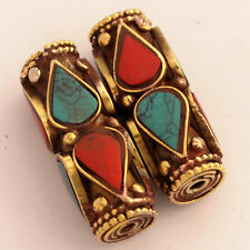 Turquoise Coral Brass 2 Beads Ethnic Tribal Gypsy Boho Bohemian Nepal AA54