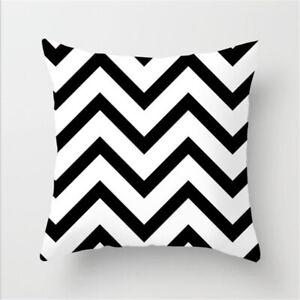 Black & White Geometric Throw Cushion Cover Square Waist Pillow Case Home Decor