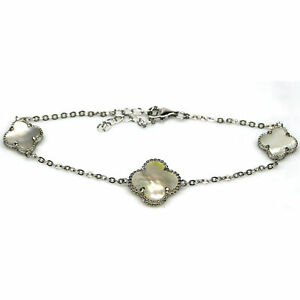 """NATURAL WHITE MOTHER OF PEARL BRACELET 8.5"""" 925 STERLING SILVER"""