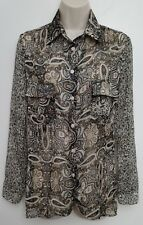 Band of Gypsies Womens Top XS Button Up Brown Boho Paisley Roll Tab Long Sleeve
