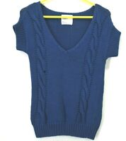 American Eagle Outfitters Women's Small Short Sleeve V Neck Cable Knit Sweater