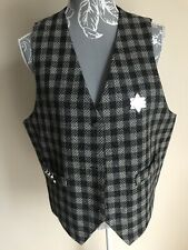 Womens Waistcoat Size 18 Black Ivory Mix Sheriff Badge Bullets Fancy Dress Party