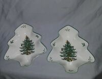 Lot of 2 Spode Christmas Tree Shaped Candy / Serving Dishes  Spode Christmas