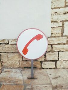 INSEGNA TELEFONO PUBBLICO VINTAGE IN LATTA BIFACCIALE VINTAGE SIP
