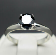 .75 to 1.10cts Real Natural Black Diamond Engagement Ring $575 Value +