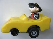 Rare McDONALDS HAMBURGLAR Bandit Yellow RACE CAR Pull Back Turbomax TOY 1988 FAB