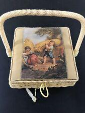 Vintage Sewing Basket Padded Top Boy Grain Scene Woven C8