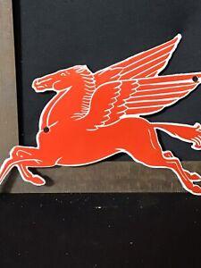 Vintage porcelain Mobil Pegasus pump plate door push  sign