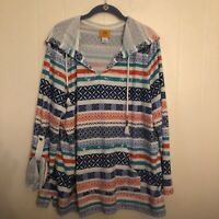 Ruby Rd Womens Hooded Sweater Pullover Long Sleeves Multicolor Stripes Size XL