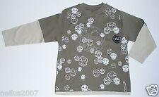 BNWT Boys Red Herring Logo Skull Long Sleeve Khaki Green T-Shirt Top Age 3-4