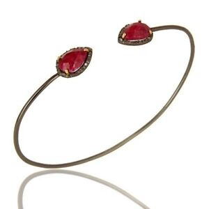 Pave Diamond Natural Ruby 18K Solid Gold Cuff Bangle Gemstone Jewelry