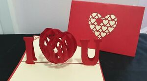 "3D Pop Up ""I LOVE U""  Card.(Valentine's day, Engagement, Anniversary, Wedding.."