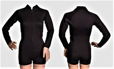 New Womens 2mm Black Shorty Spring Suit Wetsuit Long Sleeve Booty Cut Boy Short