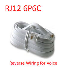 25 Ft RJ12 6P6C Reverse Telephone Line Flat Cable Cord Wire for Voice - White
