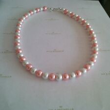Glass Pearl White, Pearl Pink Necklace