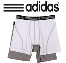 """Adidas Mens Athletic Stretch 2-Pack Boxer Brief (S) Small White/Grey Inseam 5"""""""