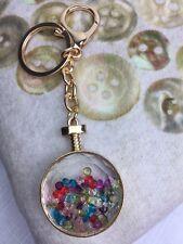 Elegante sfera di vetro holding multi colorato Loose cristalli Borsa Fascino/Portachiavi...!!!