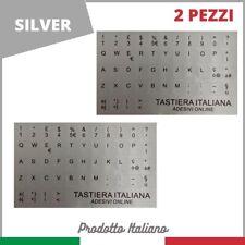 Adesivo Stickers Tastiera Italiana (2 Kit)Lettere Per Pc Notebook Silver Argento