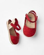 GAP Baby Girls Size 0-3 Months Red Eyelet Espadrilles Sandals Flats Shoes