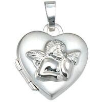 Medaillon Anhänger Herz mit Engel, 925 Silber teilmattiert, zum Öffnen, Damen