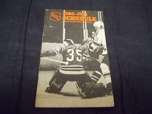 1980-1981 NHL Schedule and 1979-1980 Finals Statistics Tony Esposito Cover