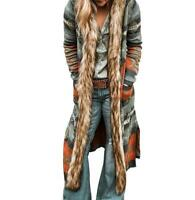 Ethnic Womens Hooded Mid Long Boho Printed Trench Coat Fur Collar Outwear Feng8