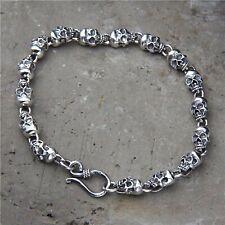 Solid 925 Sterling Silver Mens Beaded Skull Chain Cuff Bracelet 18cm